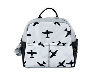 Kids Backpack, New collection Airplain Toddler backpack, Black and white backpack, Kids urban backpack,childrens Backpack, Monochromatic bag