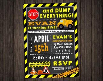 Construction Birthday Invitation PRINTABLE DIY, Dump Truck, Hard Hat, Tractor, Boys Birthday, 5X7, Boy Mom, Heavy Machines, Caution Tape