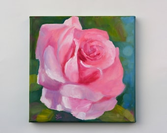 Small Oil Painting. Flowers Painting. Abstract flowers art. Wall art. Canvas painting. Rose flower painting. Daily Painting. Gift for her.
