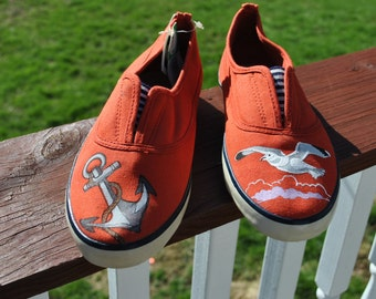 ON SALE Pretty Beach Hand Painted Sneakers size 7  READY to ship