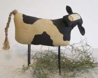 Primitive Cow , Hand Painted Cow , Handmade Country Decor