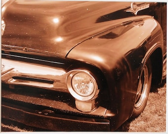 8x10 vintage truck, 1956 Ford, sepia