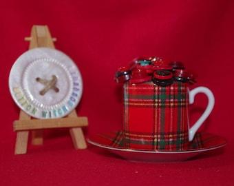 OOAK Tartan  Tea Cup Posy Ornament