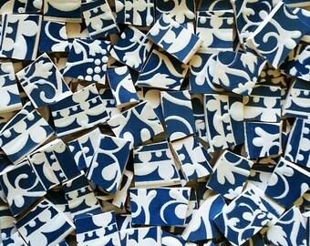 Mosaic Tiles-Filigree Blue-White 100 Tiles