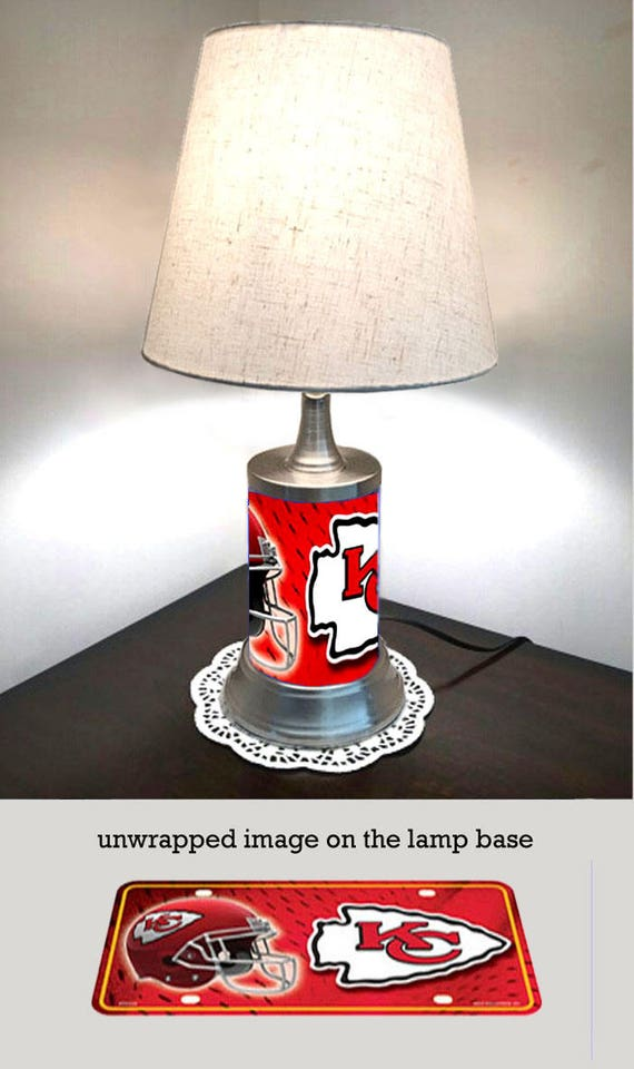 Table lamp with shade kansas city chiefs plate rolled in on like this item aloadofball Image collections