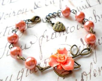 Flower Bracelet Peach Bracelet Peach Wedding Jewelry Bridesmaids Gifts Peach Bridesmaid Bracelet Leaf Charm Bracelet Floral Wedding Jewelry