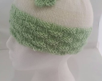 Green and white hat - green basket weave hat with flower detail