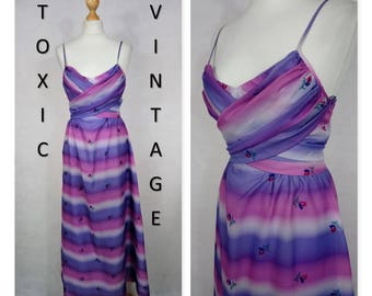 VINTAGE 1960's 1970's Pink Purple Ditsy FLORAL Stripe Cross Bust MAXI Dress. Uk Size 10. Retro, Boho, Pretty,Disco, Occasion, Evening, Glam