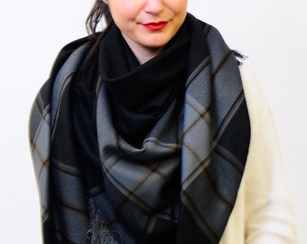 Black Oversized Scarf Blanket Scarf Shawl Wrap Square Checked Scarf Gift for Women Plaid Scarf Tartan Scarf Gift for Women Women Accessories