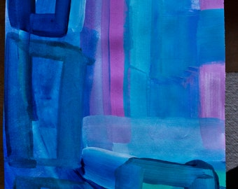 original acrylic painting in moon coloured blues by karl scaplehorn