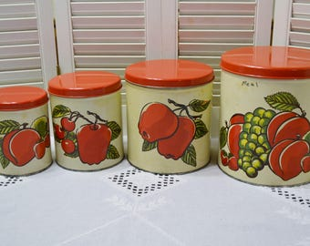 Vintage Metal Kitchen Canister Set of 4 Apple Fruit Design Red Cream Ballonoff USA Panchosporch