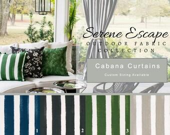 Outdoor, Cabana, Curtains, Gazebo, Patio, Deck, Porch, Tent, Sunroom, Stripe, Pool, Navy, Blue, Green, Tan, Black, Veranda, Pergola, Privacy