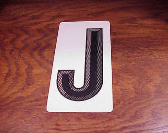 Vintage Black and White Halftone Letter J Metal Store Marquee Sign, 9 7/8 Inches Tall, Shelf Display, Craft Project, Home Decor, Graphic