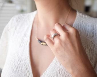 22k Gold Carved Dark Arc Necklace - Porcelain Jewelry - Bridesmaids Gift, wedding jewelry, Nautical, minimalist jewelry, nickel free