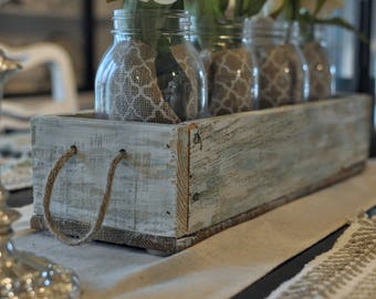 Reclaimed Wood, Centerpiece Box, Rustic Box, Box With Jars, Table Centerpiece, Farmhouse Decor
