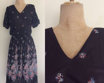 1970's Black Floral Polyester Dress Size Small Medium by Maeberry Vintage