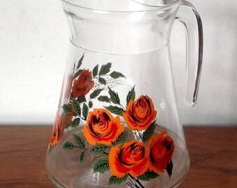 Vintage Glass Jug, Retro Orange Roses Juice Jug 1960s/70s