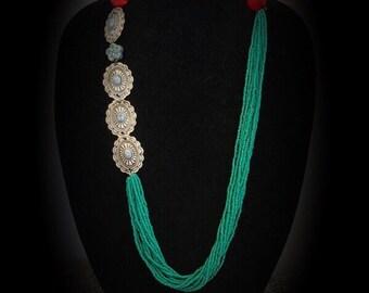 Sea green asymmetrical necklace