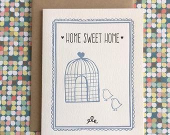 Home Sweet Home (little birds) Letterpress Card