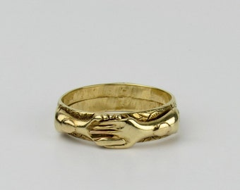Antique 18K Fede Gimmel Ring - Victorian Clasped Hands Ring