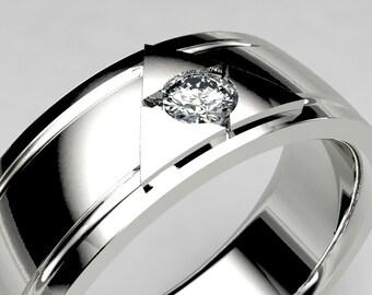 Wide White Gold or Palladium Zelda Inspired Lab Diamond Wedding Band, Mens Zelda Wedding Ring, Size 10 Legend of Zelda Geek Wedding Ring