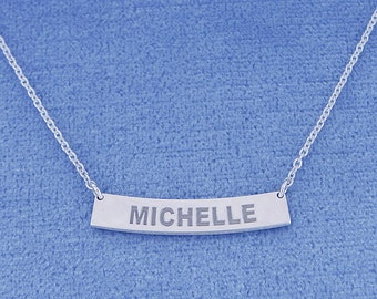 1 Inch Wide Sterling Silver Deep Laser Engraved Personalized Name Curved Horizontal Bar Pendant Necklace SC17