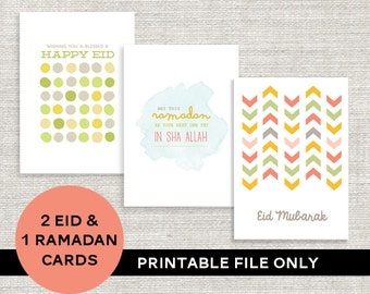 Instant Download! 2 Eid & 1 Ramadan Greeting cards PRINTABLE DIY ONLY. 3 Designs!