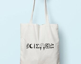 Science Symbols Tote Bag Long Handles TB0108