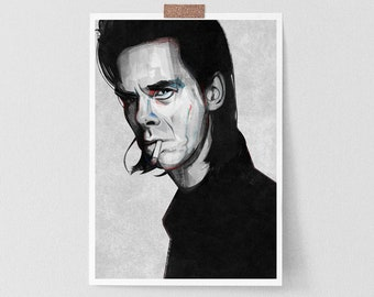 Nick Cave Inspired print  | lIlustration art giclée print |music print,Nick Cave art,Cave print,Nick Cave poster,Nick Cave and the Bad Seeds