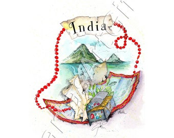 India, graphic, print, ink print, home decor, print wall art, illustration, nurcery painting, countries, elephant, traveling