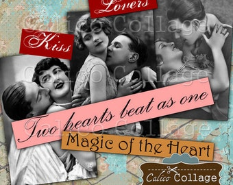Lovers Collage Sheet, 2x3 Inch Images, 2x3 Collage Sheet, Printable Ephemera, Vintage Lovers, Kissing Couples, Valentines Days, Altered Art