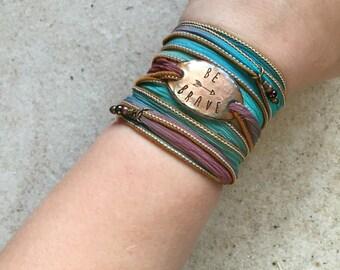 Boho Wrap Bracelet - Be Brave bracelet - boho wrap bracelet, arrow bracelet, Boho - Inspirational - brave jewelry - wanderlust jewelry