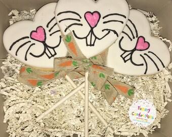 Heart Easter Bunny Nose Cookie Pops - 1 Dozen (3 Cookies)