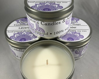 Soy Candles Highly Scented 8 ounce tins