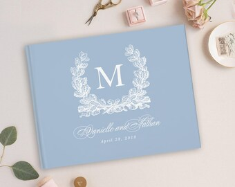 Blue Wedding Guest Book, Blue Wedding Album, Wedding Guest Books, Gold Foil, Personalized Names Hardcover, Custom Guestbooks Personalized