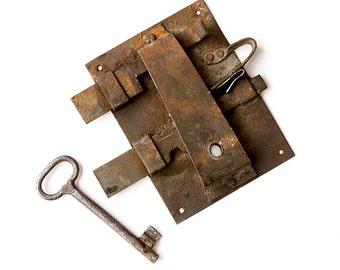 Antique handmade door lock with key Working Hand forged iron door latch lock Door hardware Rustic Industrial Collectible Rusty Salvaged bolt