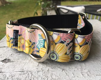 """Chloe's Tropical Blooms -  1.5"""" Martingale Collar"""