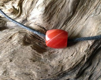 Hand Carved Lake Superior Agate Bead.