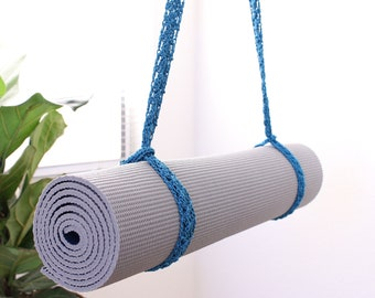 Yoga Strap / Sling | Crochet Yoga Mat Strap Mat Carrier Yoga Sling Teal Color