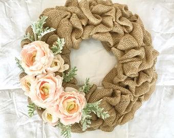 Blush Pink Ranunculus and Dusty Miller Wreath, Burlap Wreath, Spring Wreath, Summer Wreath, Mother's Day Wreath, Front Door Wreath, Cottage