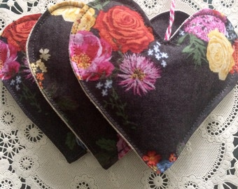 Mothers Day gift, Heart lavender sachets, set of 3, floral lavender sachets, heart satchet, drawer sachet