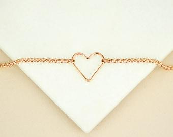 Open Heart bracelet, Valentines day gift for her, Rose gold bracelet, sterling silver bracelet, meaningful gift sweetheart, couple bracelet