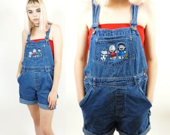 Snoopy Scene Early 90s Blue Overall Shorts, Vintage 90s Charlie Brown Movie, Snoopy Embroidered Overalls, Women's Size Large