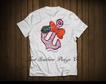 Florida gator anchor chevron t-shirt, white, Florida, anchor, chevron, blue and orange, personalized