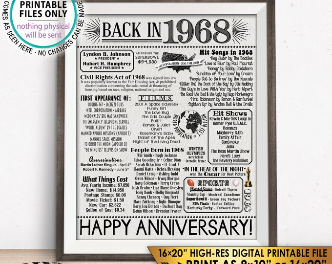 "50th Anniversary 1968 Flashback Poster, Back in 1968 Flashback to 1968 Married in 1968, Textured Paper Style PRINTABLE 8x10/16x20"" Sign <ID>"