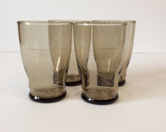 Retro 70's / Set of 4 Smoked Glass Tumblers - 6 oz Juice Glasses / Smoke - Amber Rippled Glass / Glassware / Drinkware / Barware / Vintage