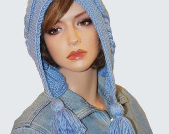 Hooded Hat Slouchy Hat Knitting Hat Womens Hat - Pom Pom  Blue Hand Knit Hat Cable Pattern Hat