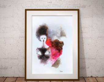 Woman with a dog watercolor painting. Dog illustration, dog wall decor. Womans watercolor portrait. Gift for her. Dog art.