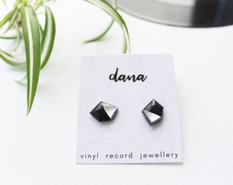 black and silver stud earrings geometric studs modern studs nugget stud earrings upcycled gift idea for her record post earrings resin studs