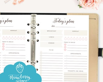 "A5 Daily planner printable: ""TODAY'S PLAN"" Daily schedule 
